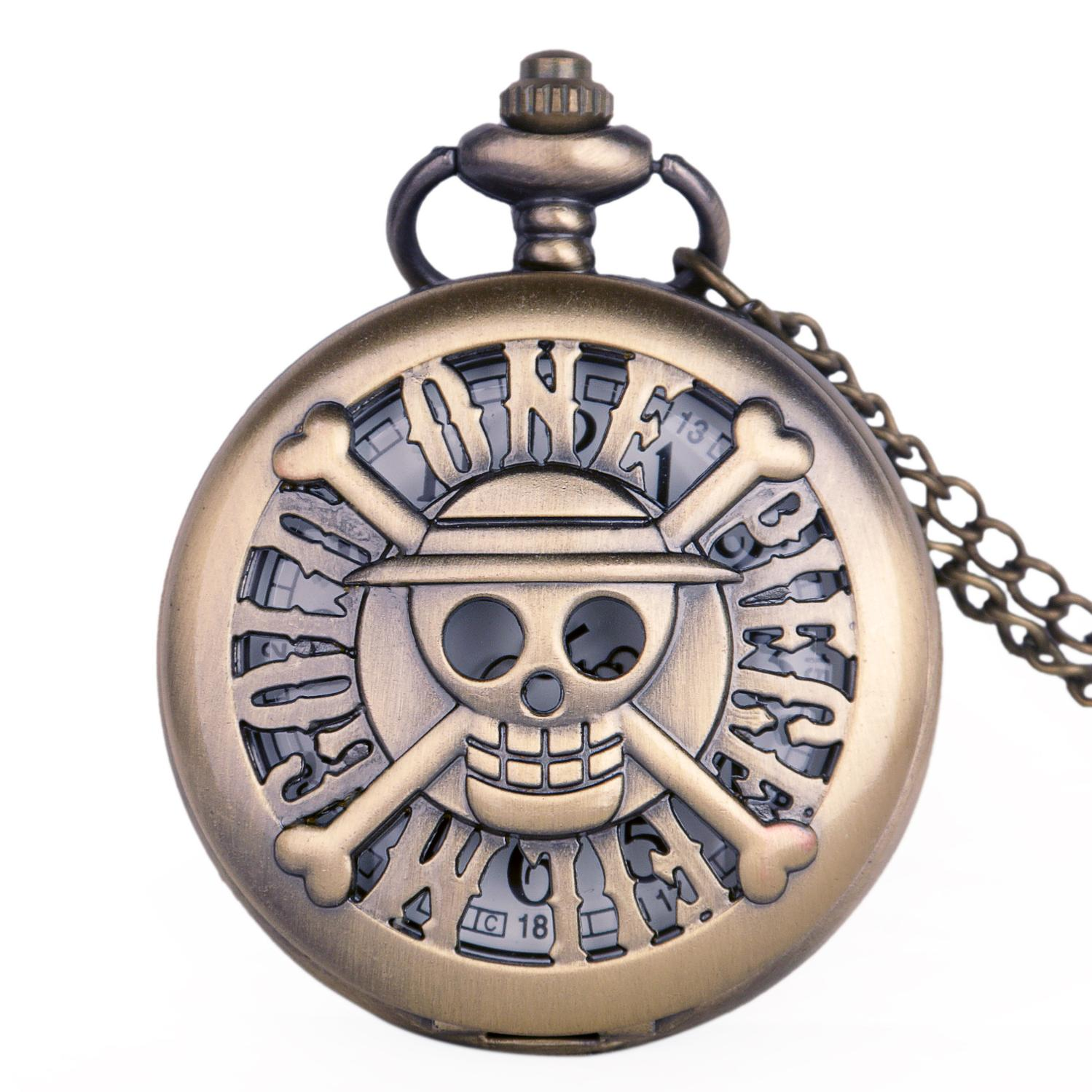 Creative Hollow Japan Anime One Piece Theme Pattern Quartz Pocket Watch Pendent Necklace Chain Fob Watch Clock Gift Drop Ship