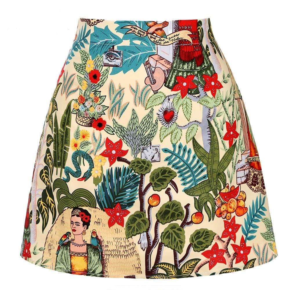 Cotton Short Skirt 2020 Women Ladies Summer Mini Skirt Sexy Vintage Punk Floral Print Skirts Falda Corta