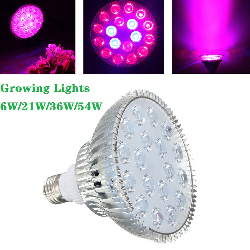 Led Grow Light Bulb E27 6W/21W/36W/54W AC85-265V Growing Lamp For Flower Plant Hydroponics System Aquarium Led Lighting