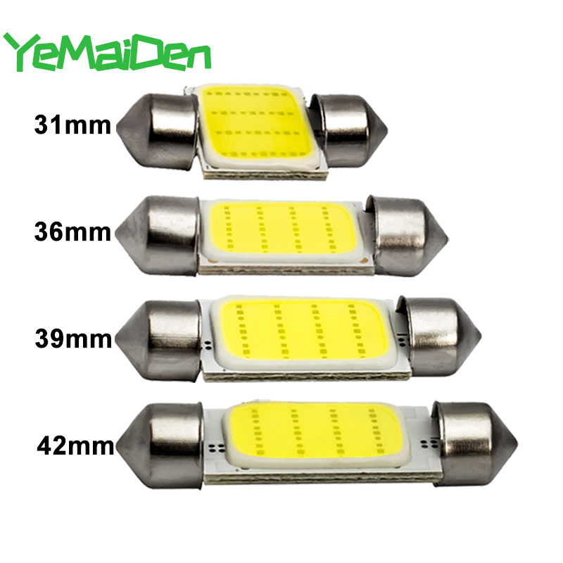 1x Festoon 31mm 36mm 39mm 41mm C5W C10W LED COB Bulb 12SMD 12V 7000K Car Interior Dome Reading Luggage Light Super Bright White