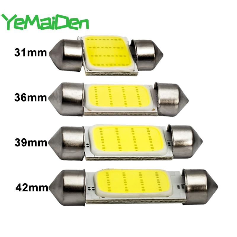 1x гирлянда, 31 мм, 36 мм, 39 мм, 41 мм, C5W, C10W, светодиодная лампа COB 12SMD, 12 В, 7000K, для салона автомобиля, верхнее освещение для чтения багажа, суперярки...
