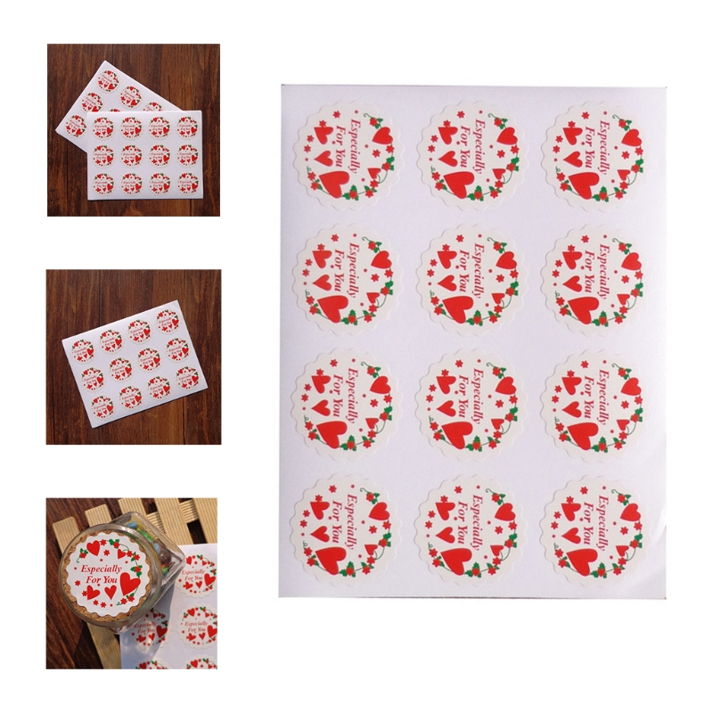 50 Sheets 600Pcs Especially For You Stickers Red Heart Print Round Adhesive Seal Labels for Gift Wrapping DIY Decoration