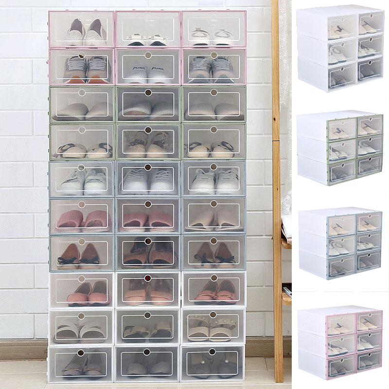 New transparent drawer plastic shoe box clamshell design double shoe rack shoe storage artifact home storage tool MK