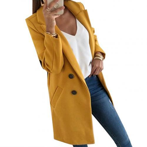 Women Blend Coat Autumn Winter Turn-Down Collar Long Wool Jacket Coat Plus Size Coat Casual Windbreake