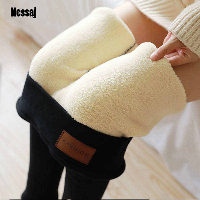 Nessaj Warm Pants Women Thermal Leggings High Waisted Jeggings For Girls Streetwear Trousers Women Winter Casual Leggings Women
