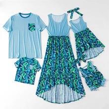 Модные Семейные одинаковые наряды платья для мамы и дочки одежда