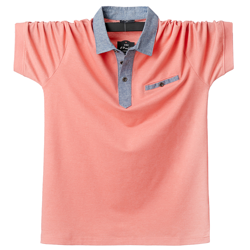 Casual Turn Down Collar <font><b>Polo</b></font> <font><b>Shirt</b></font> <font><b>Men</b></font> Short Sleeve 95% Cotton Breathable Soft Comfortable Male <font><b>Polo</b></font> <font><b>Shirts</b></font> <font><b>Big</b></font> <font><b>Size</b></font> 5XL 6XL image