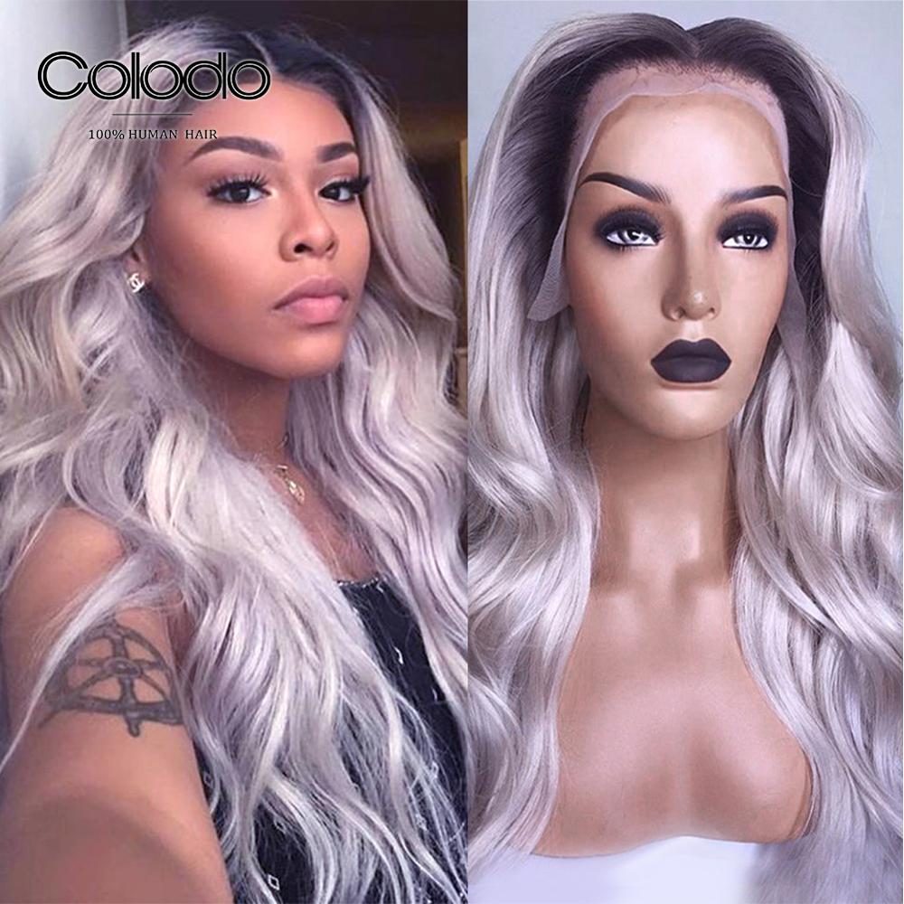 COLODO 150% Density 1b Roots Ombre Grey Human Hair Wig With Baby Hair Pre Plucked Lace Front Human Hair Wigs For Black Women