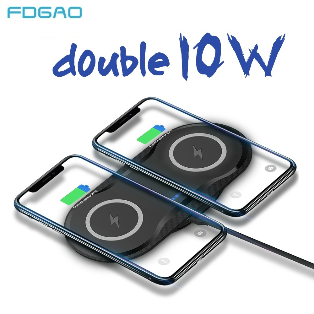FDGAO 2 in 1 Double Seat Wireless Charger Pad 10W Fast Charging for iPhone X XS MAX 8 plus For Samsung S10 S9 S8 Desktop Charger Wireless Chargers     - title=