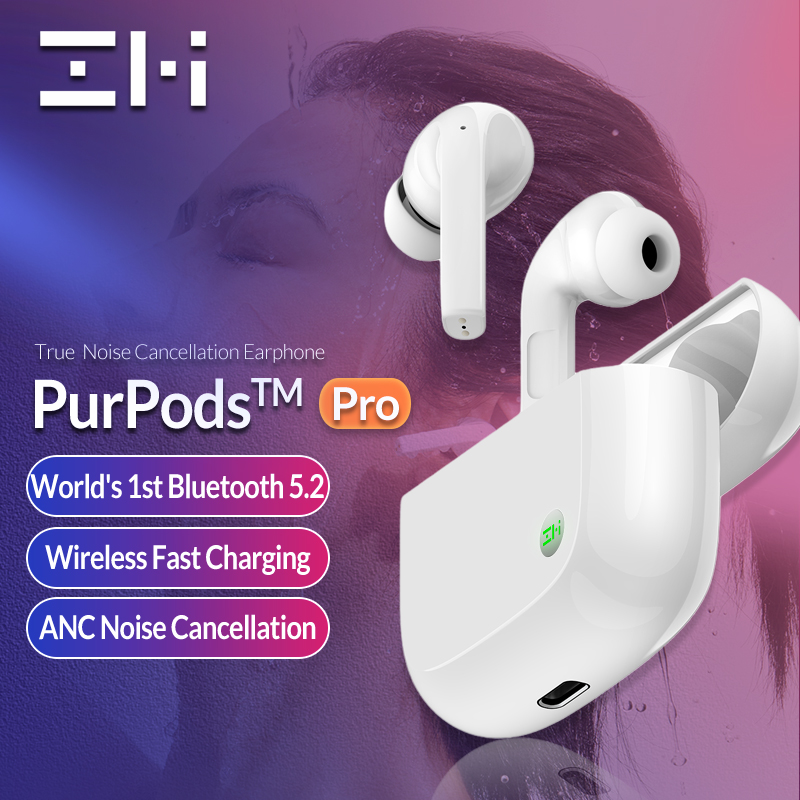 Versão global zmi purpods pro do mundo 1st bluetooth 5.2 verdadeiro fones de ouvido sem fio anc 3mic anti ruído à prova dwaterproof água no ouvido
