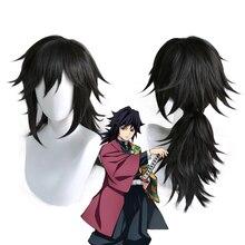 Demon slayer peruca de cabelo sintético, perucas para cosplay no yaiba tomioka giyuu, preta, resistente ao calor