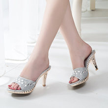 Spike Heels Women Pumps Sexy High Heels Women Crystal Party Women Shoes Gold Open Toe Ladies Shoes(China)