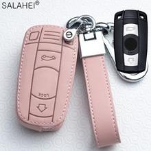 Porte clés de Voiture en cuir pour BMW E90 E60 E70 E87 3 5 6 Série M3 M5 X1 X5 X6 Z4 Porte clés Couverture Télécommande Porte clés