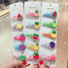 NEW Kids Hair Accessories Headwear 100pcs/lot Transparent Quicksand Hairpins Cartoon Hello Kitty Rainbow Clip for Girl