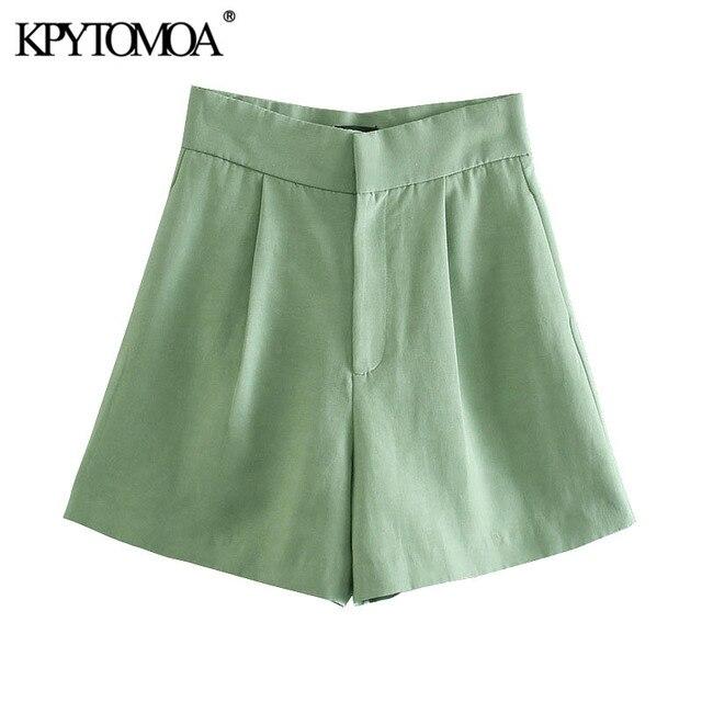 KPYTOMOA Women 2021 Chic Fashion Side Pockets Linen Bermuda Shorts Vintage High Waist Zipper Fly Female Short Pants Mujer 1