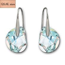 Высокое качество SWA синий светильник, белый кристалл, модные ювелирные изделия с перфорированными серьгами и женскими ушными гвоздями 2