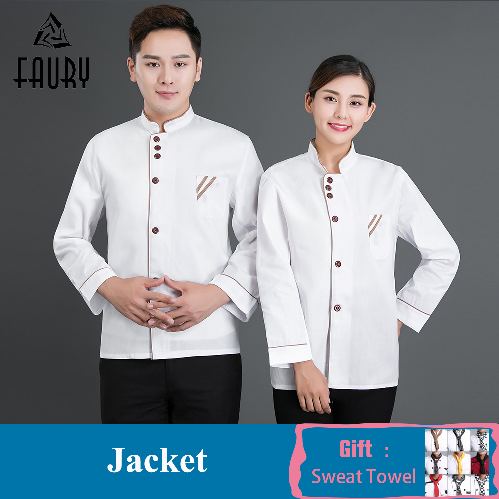 Chef Waitress Waitress Uniforms Men Women Long Sleeve Chef Jacket Restaurant Kitchen Cook Coat Hotel Workwear Chef Clothes