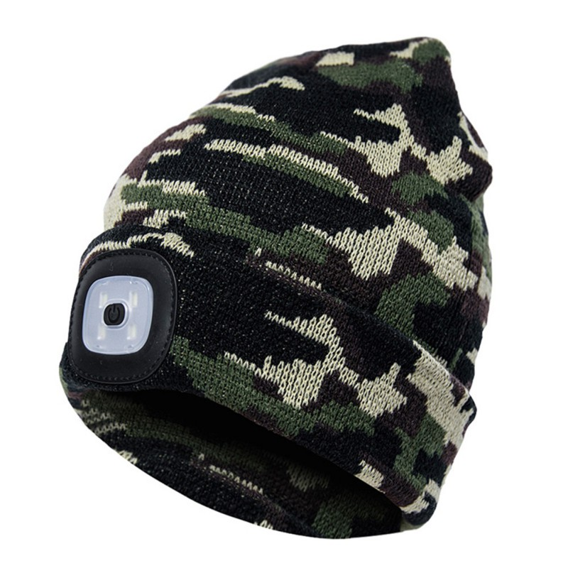 Winter Warm Elastic Beanie Cap Beanies Hats With LED Light Unisex Outdoor Cycling Hiking Knitted Hat