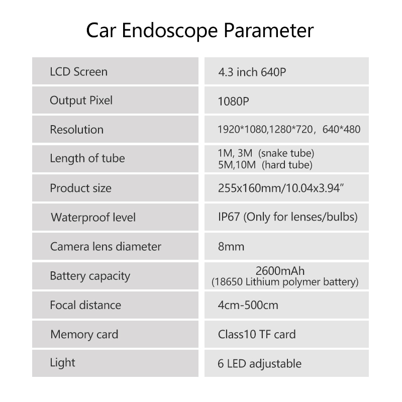 Image 4 - HD Endoscope 1080P 4.3 inch 8mm Inspection Camera for Auto Repair Tool IP67 Waterproof Snake Tube Borescopes 30-in Surveillance Cameras from Security & Protection