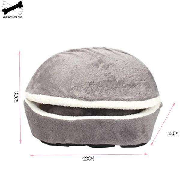 Cat Bed Sleeping Bag Sofas Mat Hamburger Dog House Short Plush Small Pet Bed Warm Puppy Kennel Nest Cushion Pet Products 3