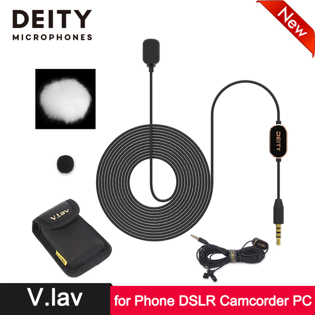 DEITY Professional Lapel Condenser Lavalier Microphone for SLR Camera Smartphone Pad Tablet PC Computer Camcorder Audio Recorder