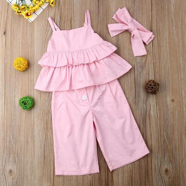 3pcs Casual Bambini Vestiti Delle Ragazze Set Solido Increspato Cinghia Magliette e camicette + Pants + Copricapo 5