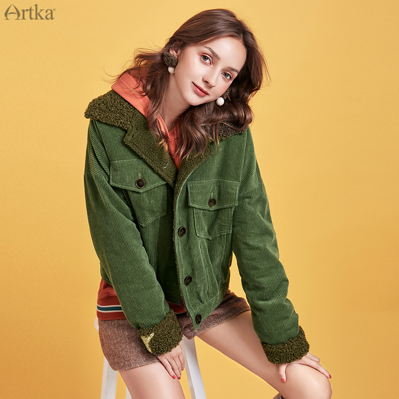 ARTKA 2019 Winter New Women Coat Fashion Thick Warm Corduroy Outerwear Lambswool Bomber Jacket Long Sleeve Casual Coat MA10092Q image