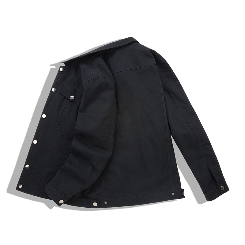 Men Cargo Baggy Denim Jackets Coats Solid Color Loose Style Jeans Jackets Outwear For Male Size M-4XL Black (5)