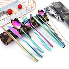 2019new Stainless Steel Cutlery Portable Set Chopsticks Spoon Fork Reusable Straw and Dinnerware Bag for Travel