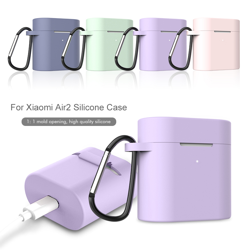 Silicone Case For Xiaomi Airdots Pro 2 Wireless Bluetooth Headset Protective Cover With Carabiner Hook Earphone Case For Air 2