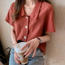 Women Casual Blouse Short Sleeve Buttons Loose Blouses Tops Plus Size 4XL Button