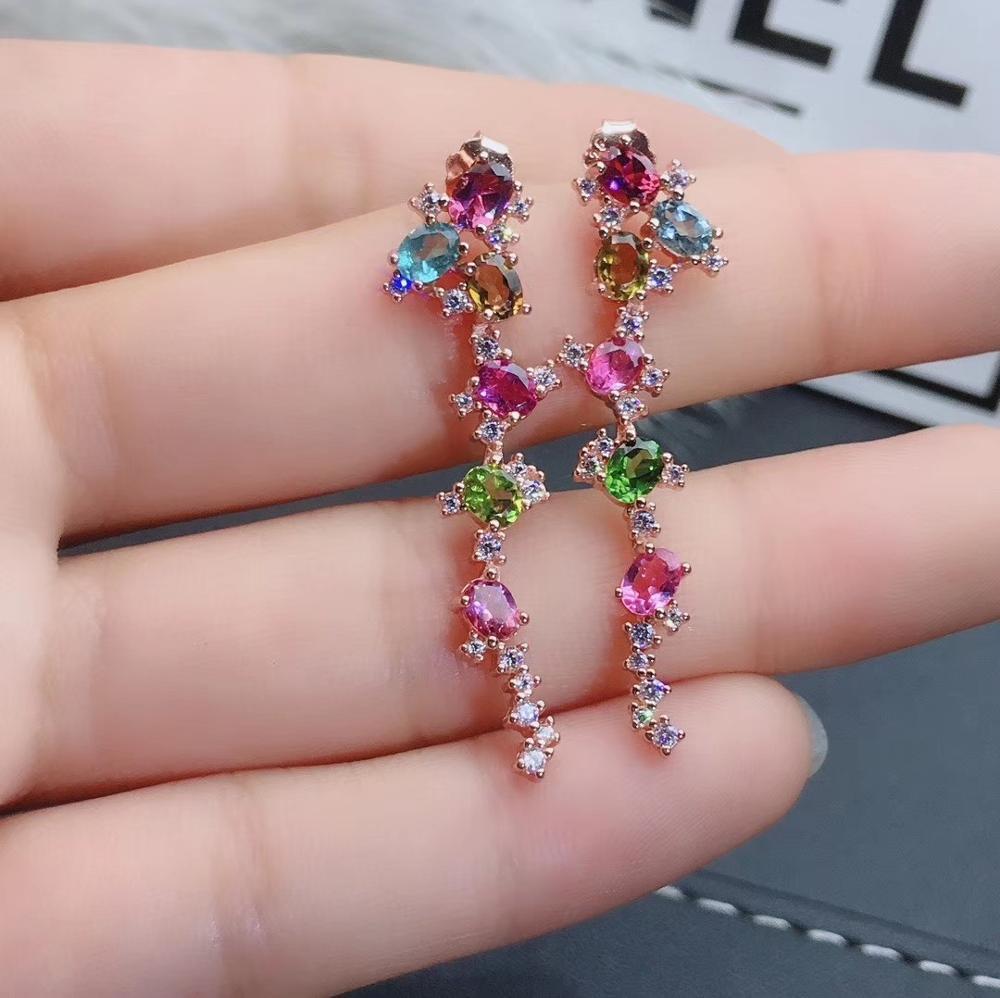 Mode longue géométrie naturel multicolore tourmaline goutte boucles d'oreilles pierres précieuses naturelles boucles d'oreilles 925 argent femme fête bijoux