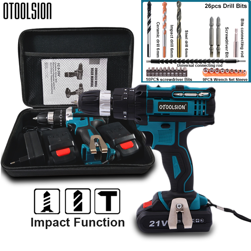 21V Impact Cordless Screwdriver 1600rpm High Speed Drills Rechargeable Battery Drill Household Drill Power Tools With Drill Bits
