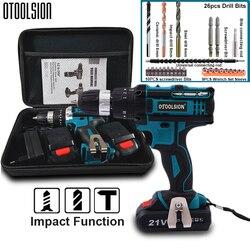 Destornillador inalámbrico de impacto de 21 V, taladro de alta velocidad de 1600 rpm, taladro de batería recargable, herramientas eléctricas de taladro doméstico con brocas