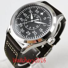 42Mm Corgeut Zwarte Wijzerplaat Lederen Saffierglas Luminous Marks Militär Automatische Mechanische Mens Horloge