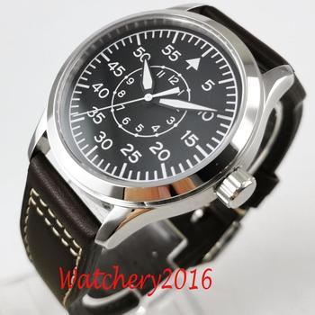 цена 42mm Corgeut Black dial Leather sapphire glass Luminous marks MIYOTA 8215 Automatic Mechanical mens Watch онлайн в 2017 году