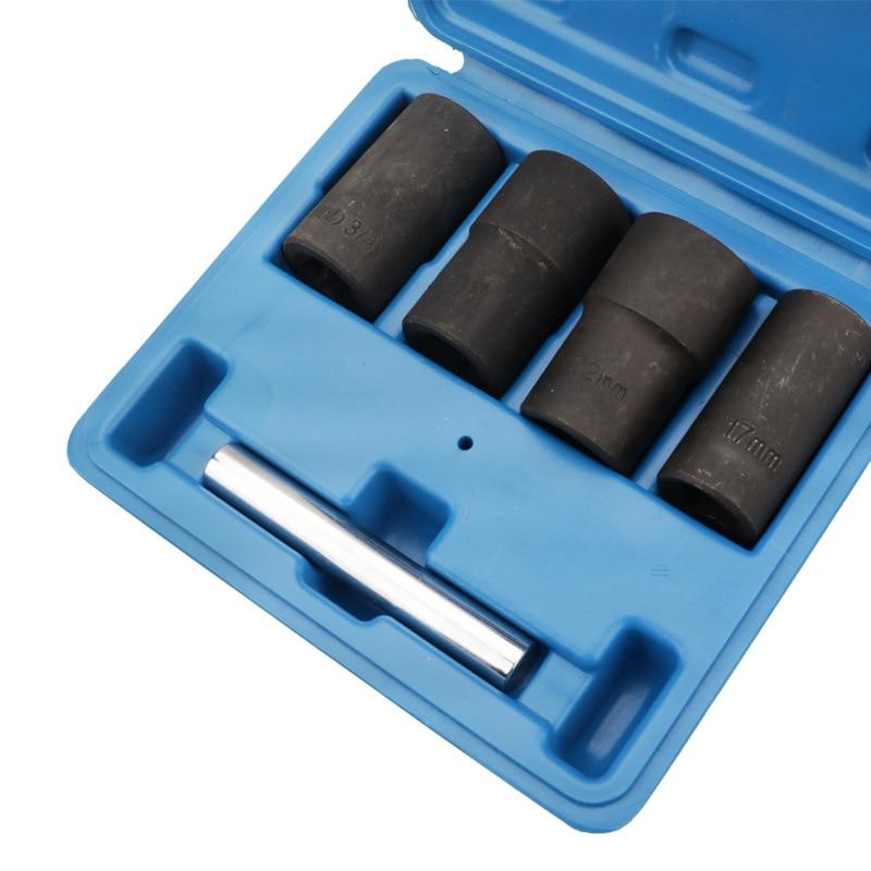 Tools : 5Pcs Twist Socket Set Locking Wheel Nut Bolt Stud Extractor Removers 17Mm 19Mm 21Mm 22Mm Socket Car Accessories New