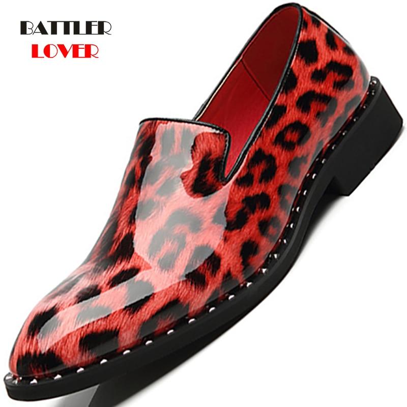 Dress Shoes Men Oxford Leopard Patent Leather Men