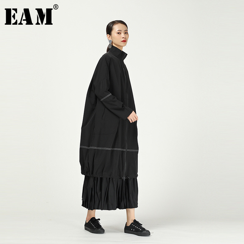 [EAM] Women Black Line Split Big Size Long Trench New Stand Collar Long Sleeve Loose Fit Windbreaker Fashion Spring 2020 1R287