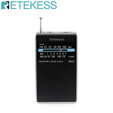 RETEKESS PR15 FM AM NOAA Emergency Pointer Tuning Radio Mini Handheld Radio Portable Pocket Radio Receiver With Weather Warning 5 pcs portable radio retekess v 117 3 band fm am sw radio battery powered emergency receiver radio station f9207a