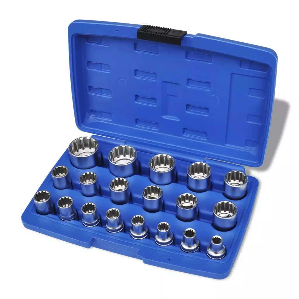 VidaXL 19Pcs Spline Socket Set With Storage Case With Tool Case Tamper-Proof Lug Nuts Drive Bits Sockets For Repairs Car V3