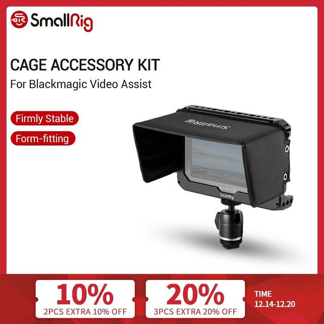 "SmallRig Monitor Cage Kit for Blackmagic Design Video Assist 5"" Monitor with HDMI Clamp Sunhood Ballhead Cold Shoe 1981"