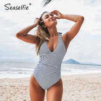 SEASELFIE-traje de baño de una pieza con cuello Halter para mujer, con espalda descubierta Monokini Sexy, a rayas azules, ropa de playa