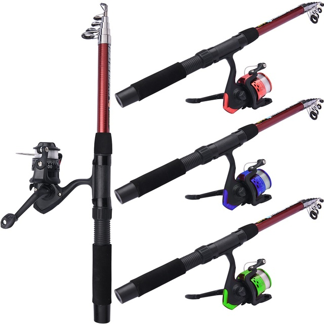 Fishing Rod and Reel Full Kits with Telescopic Fishing Rod and Reel Baits Hooks Saltwater Freshwater Travel Pole Set 2
