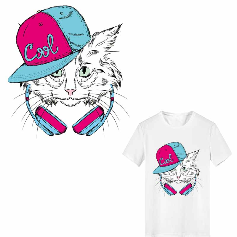 Iron on Cool Cat Patches Stripes for Kids Clothing DIY T-shirt Applique Heat Transfer Vinyl Thermo Stickers Clothes