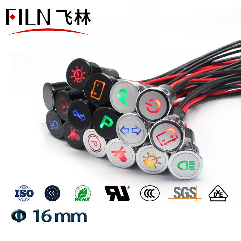 16mm Led Metal Indicator Light Pilot Lamp With Car Boat Dashboard Warning Symbol 12v 24v 110v 220v Red Green Indicator Lamp