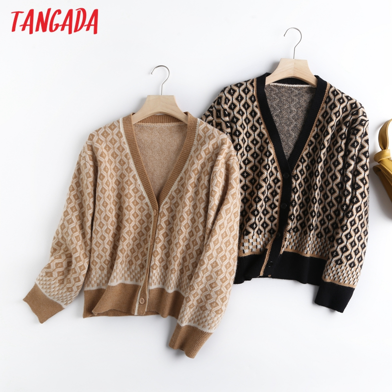 Tangada queda 2020 mulheres geometria suéter grosso suéter de cashmere pullover camisola de malha v pescoço de alta qualidade jumper BC82