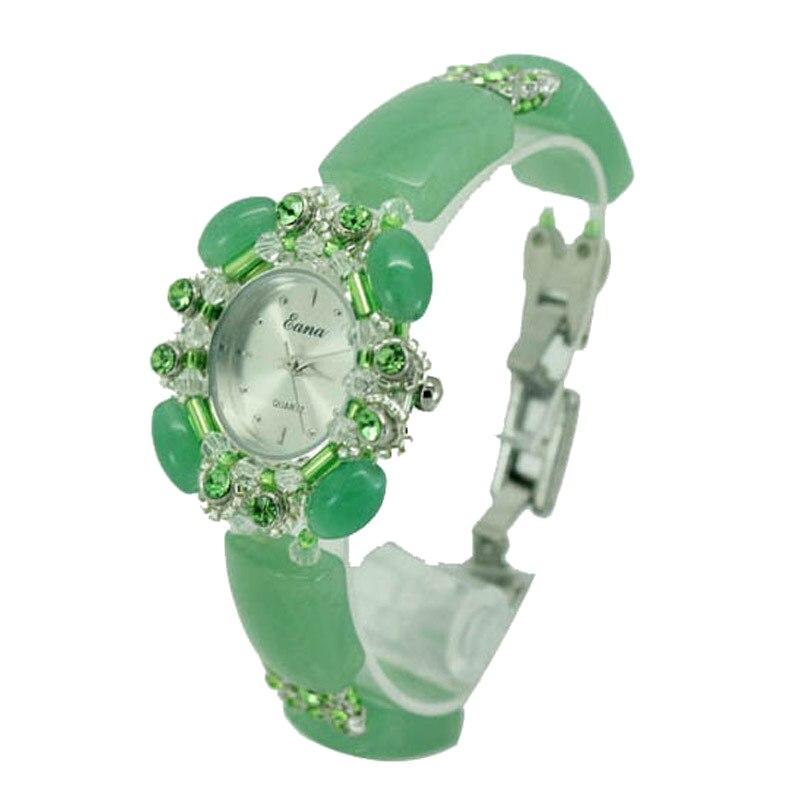 Nouveauté mode filles Quartz montre femmes femme naturel Jade Bracelet bijoux montre étudiants cadeaux