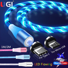 UGI LED Magnetic Cable Quick Charge Fast Charging Micro USB Type C USB C Cable For Huawei For Samsung S8 S9 S10 Data Cable 1M/2M hdsail led light cable fast charging micro usb type c cable led wire cord type c charger for iphone 7 8 xs max samsung s10 s9 s8