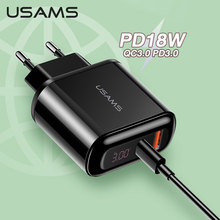 USAMS Quick charge QC3.0 PD3.0 PD Fast Charger 18W USB Type C for iPhone 11 8 7 6 Plus Xiaomi Samsung Huawei 5V 3A Phone Charger